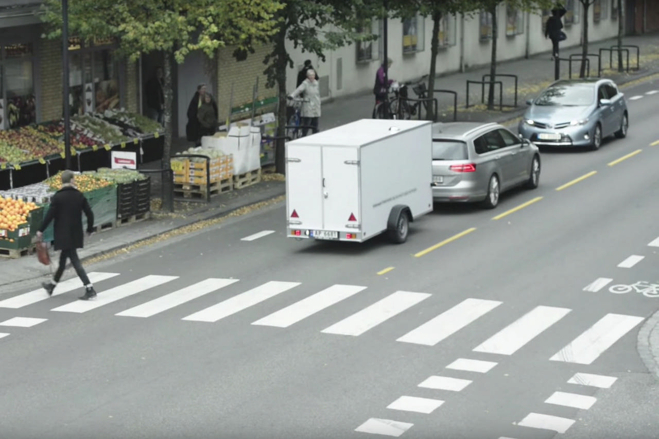 """""""The Reversed Trailer"""" Volkwagen Passat Trailer Assist To explain and demonstrate Trailer Assist: a stunt where a trailer tows a Passat through town with all sorts of manoeuvring and at normal traffic speed. Online audience could book a test drive. In following month Passat sales in Norway up 15%."""