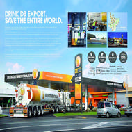 <strong>&quot;Brewtroleum&quot;</strong><br /><strong>DB Export Beer - Colenso BBDO Auckland</strong> <br />DB Export Brewtroleum, a biofuel created with DB's surplus yeast flurry (and emitting 8% less carbon), was rolled out to 62 Gull petrol stations across NZ (and made each forecourt an ambient ad). With beer market declining 6% a year, sales of DB Export grew 10%, as up and down the country men rallied to save the planet.