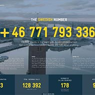 <strong>&quot;The Swedish Number&quot;</strong><br /><strong>Swedish Tourist Association - INGO Stockholm</strong> <br />Celebrating 250 years of freedom of expression in Sweden, campaign gave people round the world a telephone number to put them through to a random person in Sweden who would answer any question. With zero spend on bought media or seeding, generated 128,392 calls from 178 countries to 26,069 Swedish phone ambassadors, with a longest call of 3hr 42min.